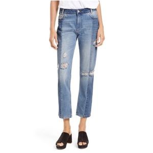 Free People Patchwork High Waist Crop Jeans, 28